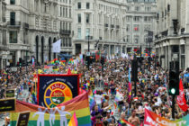 A general view of the parade during Pride in London 2019