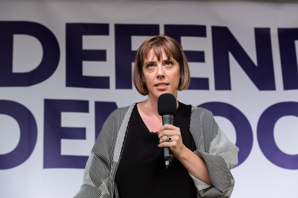 Labour Party MP Jess Phillips speaks to thousands of pro-EU demonstrators gathered for a cross-party rally in Parliament Square, organised by the People's Vote Campaign. (WIktor Szymanowicz/NurPhoto via Getty Images)