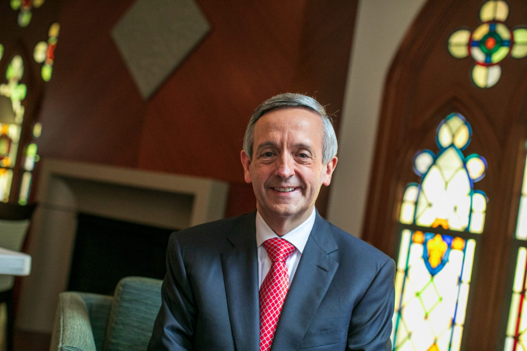 Robert Jeffress poses for a portrait after service at First Baptist Dallas church in Dallas, Texas. (Photo by Ilana Panich-Linsman for The Washington Post via Getty Images)