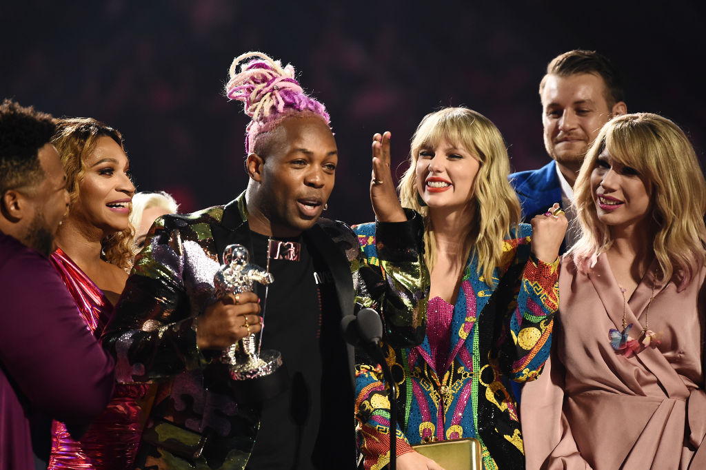 Todrick Hall and Taylor Swift receive 'Video For Good' award for onstage during the 2019 MTV Video Music Awards at Prudential Center on August 26, 2019 in Newark, New Jersey.