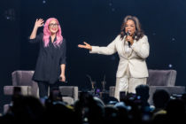 Lady Gaga and Oprah Winfrey speak during the WW (Weight Watchers Reimagined) Oprah's 2020 Vision: Your Life In Focus Tour. (Jason Koerner/Getty Images for Oprah)