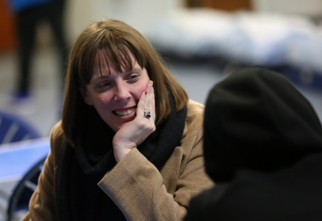 Jess Phillips arrives at a city centre homeless shelter on January 14, 2020 in Glasgow, Scotland. (David Cheskin/Getty Images)