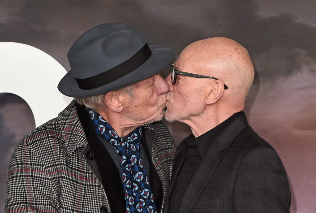 Ian McKellen & Patrick Stewart Share Adorable Kiss At 'Mr ... |Ian Mckellen Patrick Stewart Kiss