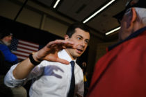 Democratic presidential candidate Pete Buttigieg on a campaign stop in Iowa