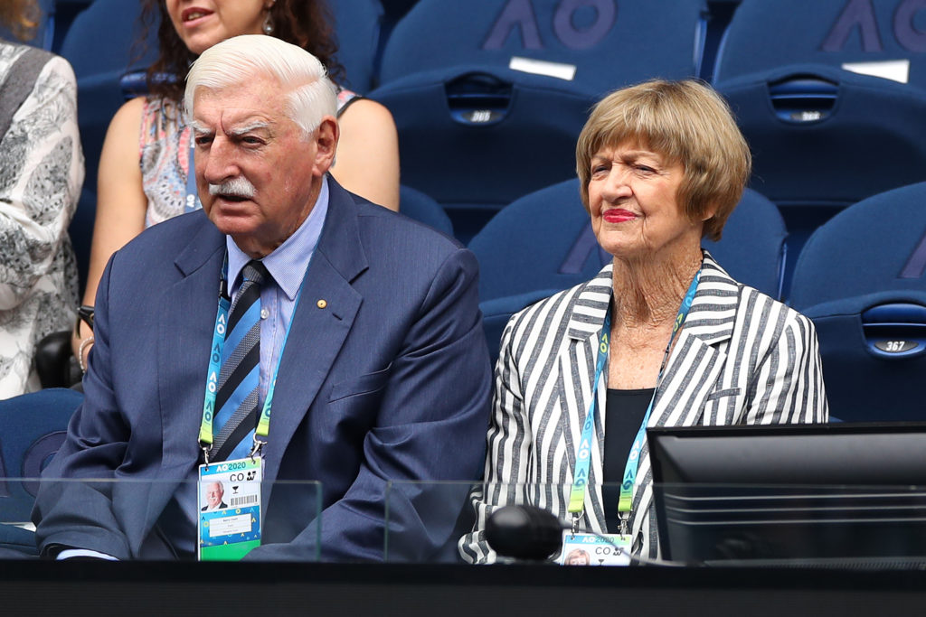 Margaret Court and husband Barrymore Court watch the Women's Singles on day one of the 2020 Australian Open at Melbourne Park