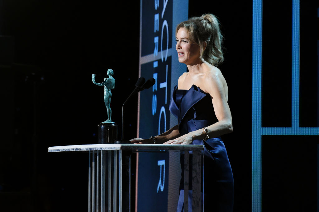 Renée Zellweger accepts the Outstanding Performance by a Female Actor in a Leading Role award for 'Judy' onstage during the 26th Annual Screen Actors Guild Awards