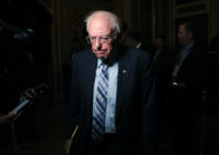 Bernie Sanders (I-VT) talks to reporters at the US Capitol January 21, 2020 in Washington, DC. (Mark Wilson/Getty Images)