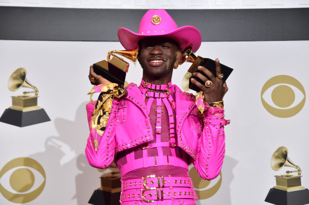 Lil Nas X wins big at the Grammys in all-pink Versace dominatrix outfit