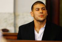 Aaron Hernandez sits in the courtroom of the Attleboro District Court during his hearing on August 22, 2013 in North Attleboro, Massachusetts. (Jared Wickerham/Getty Images)