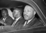 Dr. Martin Luther King, Jr. (r), Bayard Rustin (left), and Rev. Bernard Lee, (c) after a 1964 meeting with New York Mayor Wagner to discuss civil rights