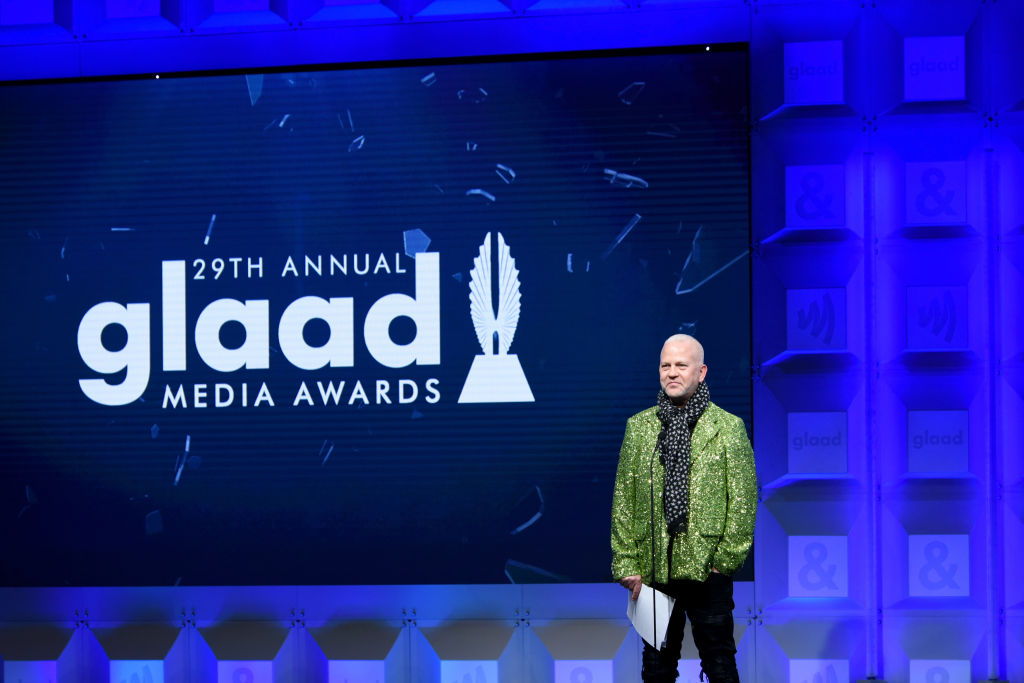 Ryan Murphy speaks onstage at the 29th Annual GLAAD Media Awards at The Beverly Hilton Hotel on April 12, 2018.