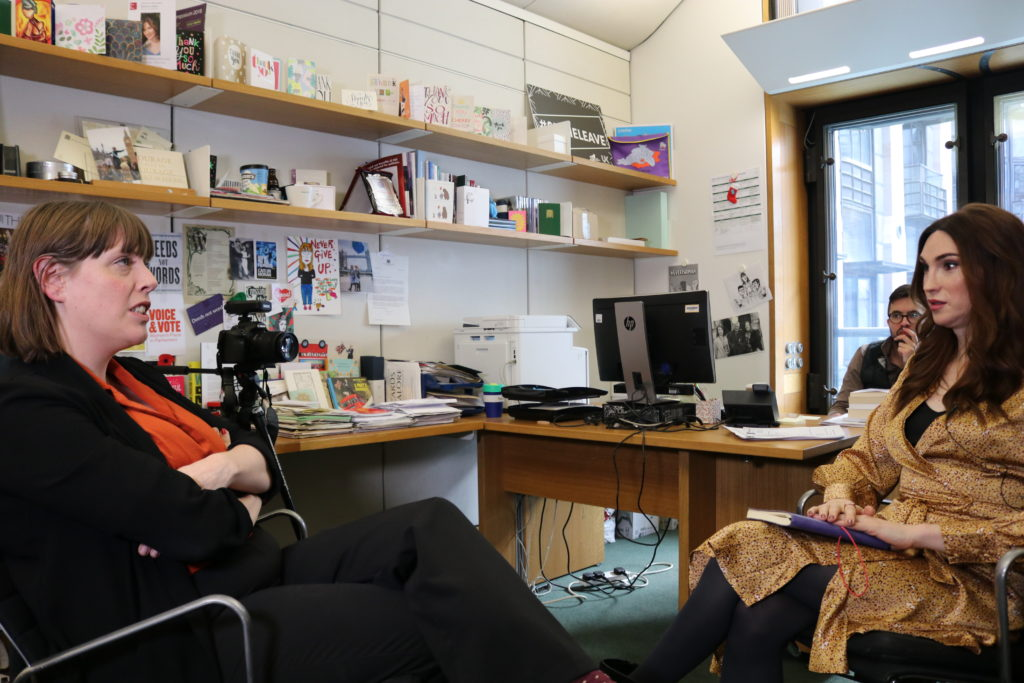 Labour lawmaker Jess Phillips (L) sat down with journalist Juno Dawson in the Houses of Parliament. (PinkNews)