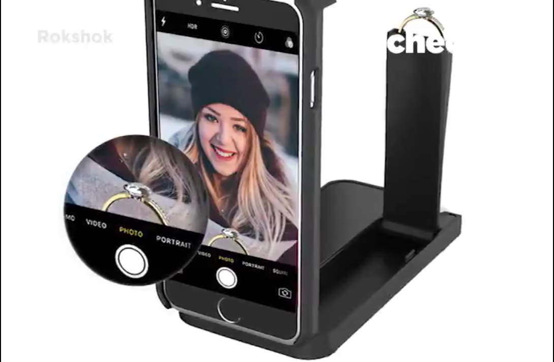 straight A promotional video for Rokshok, a phone case that conceals an engagement ring allowing users to record the moment, has gone viral on Twitter. (Screenshot via Twitter)