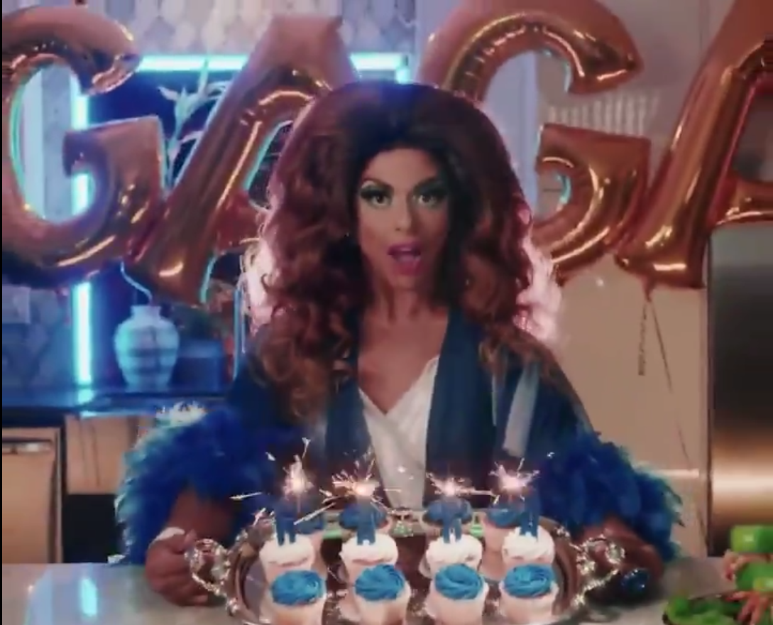Shangela served Lady Gaga cupcakes in the first trailer for the pair's Super Saturday Night performance. (Screen capture via Twitter)