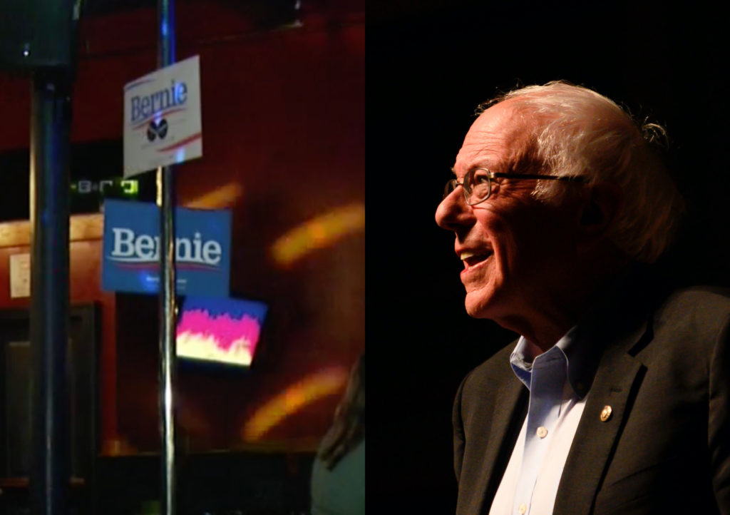 Bernie Sanders supporters staged a rally at a gay bar, decorating a dancer's poll with signs. (STEPHEN MATUREN/AFP via Getty Images/Screen capture via ABC News_