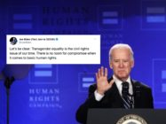 Joe Biden delivered a sly broadside against Bernie Sanders after accepting support from an anti-trans comedian. (Alex Wong/Getty)