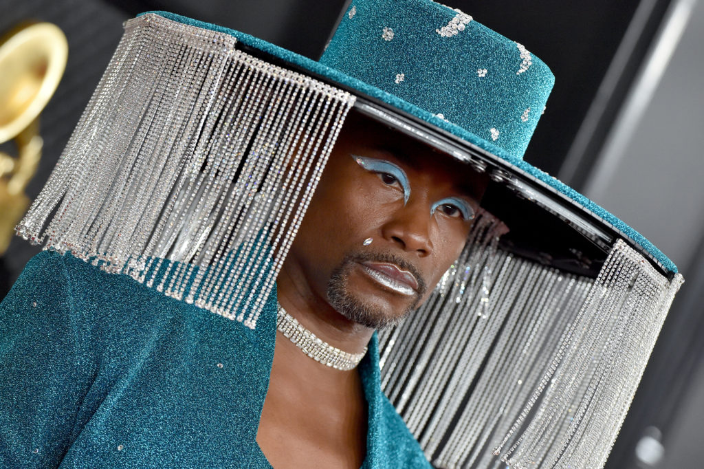 Billy Porter at the Grammys in a crystal fringed hat