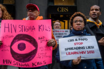 HIV protestors outside of CBS New York's headquarters.