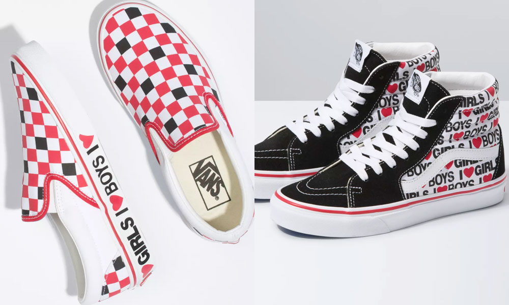 "Converse sneakers with ""I [heart] boys I [heart] girls"" along the midsole and outer respectively"