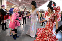 Alexis Mateo and Serena ChaCha meet a young fan also dressed in drag.