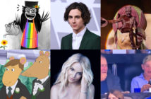 The annual tradition of Gaychella has already arrived to dull the insurmountable pain of World War 3. (Top row, L-R: Twitter, ROBYN BECK/AFP via Getty Images, screen capture via YouTube. Lower row, from L-R: Screen capture via YouTube, Michelangelo Di Battista/Sony/RCA via Getty Images, Twitter)
