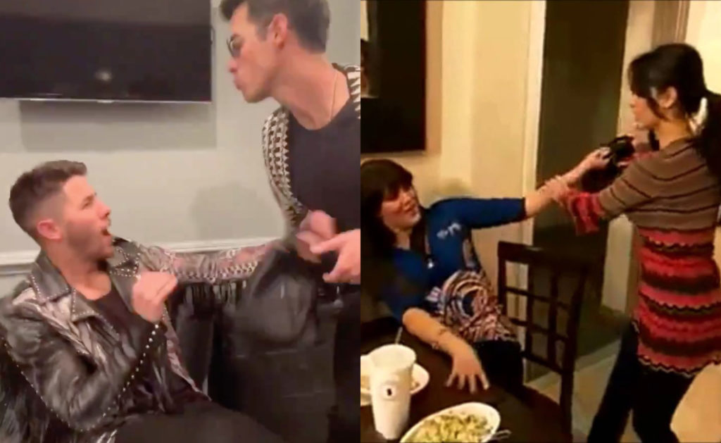 Nick (L) and Joe Jonas (centra L) re-created Khloé (centre R) and Kim Kardashian's (R) iconic 2008 fight. (Screenshots via Twitter and YouTube)