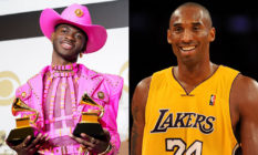 Lil Nas X holding his Grammy Awards / Kobe Bryant in a Lakers jersey