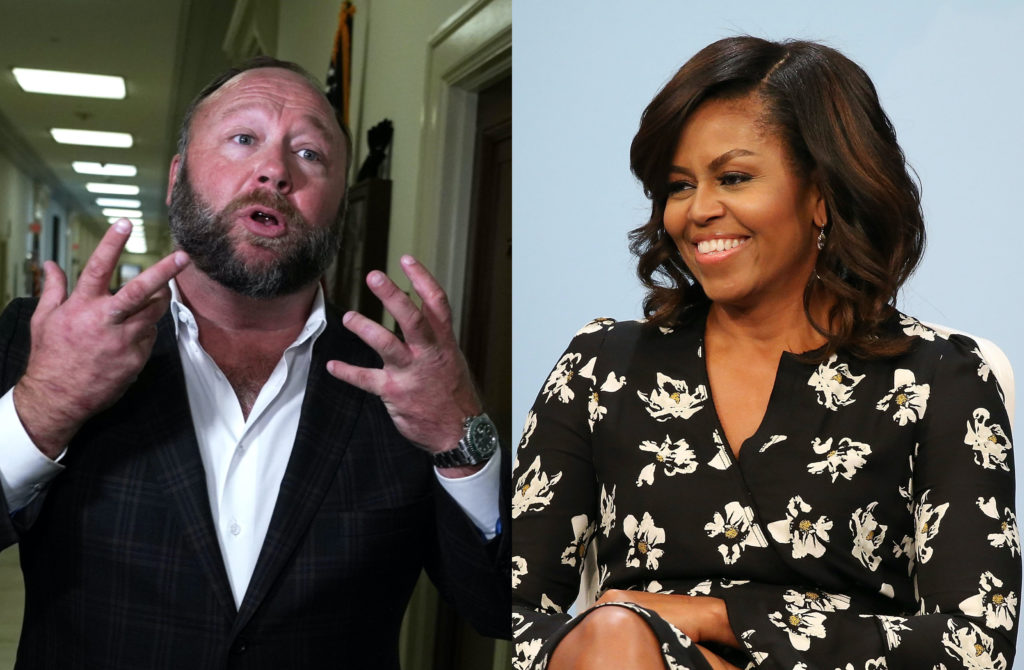 Alex Jones (L) thinks Michelle Obama is trans and we are so very tired. (Getty Images)