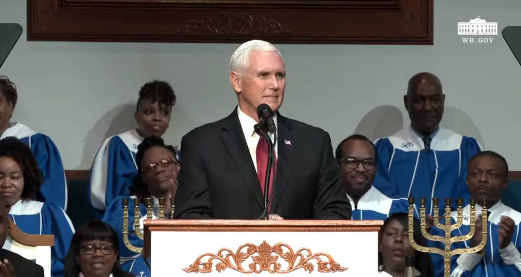Mike Pence speaks at at Holy City Church of God in Christ in Memphis, Tennessee