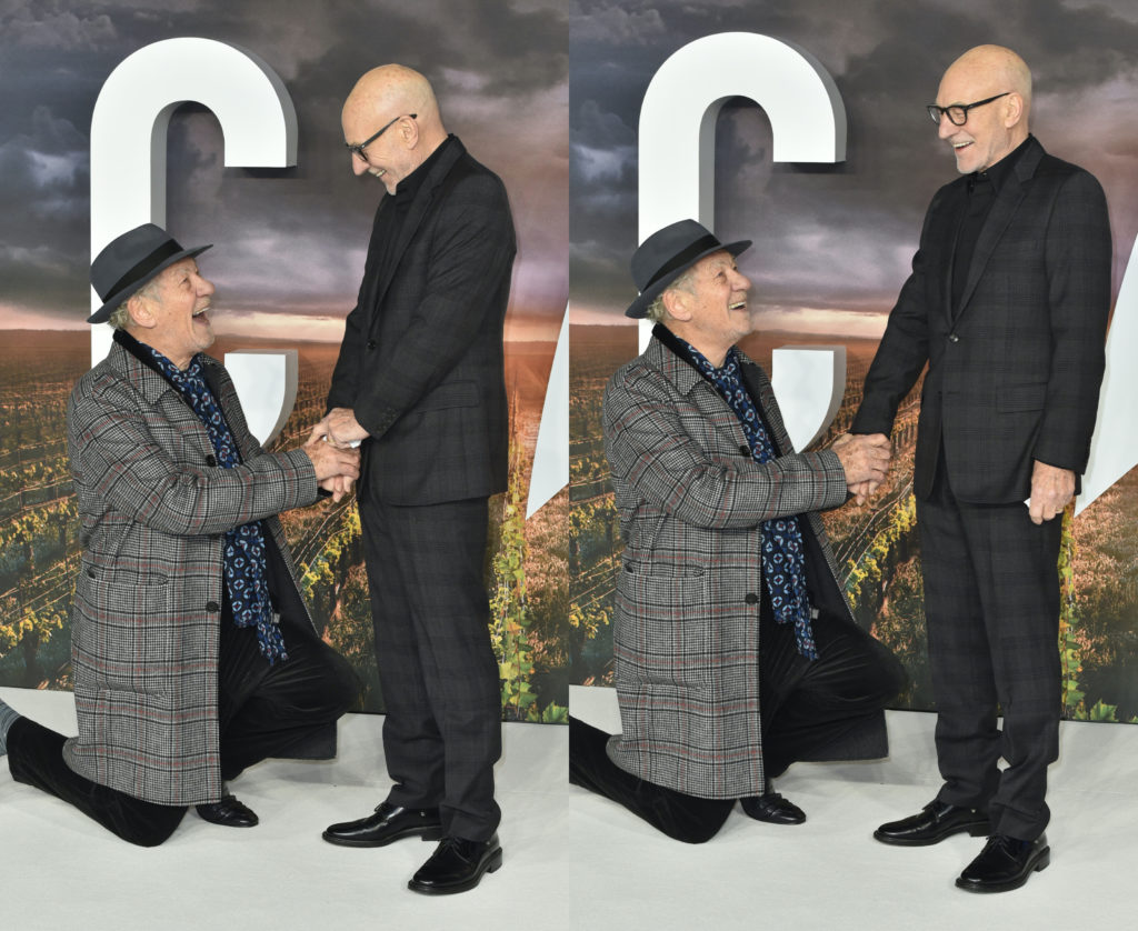 Ian McKellen jokingly popped the question to his best pal, Patrick Stewart. (James Warren / Echoes Wire / Barcroft Media via Getty Images)