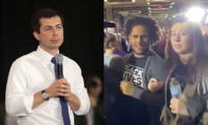 Pete Buttigieg and a Black Lives Matter protestor