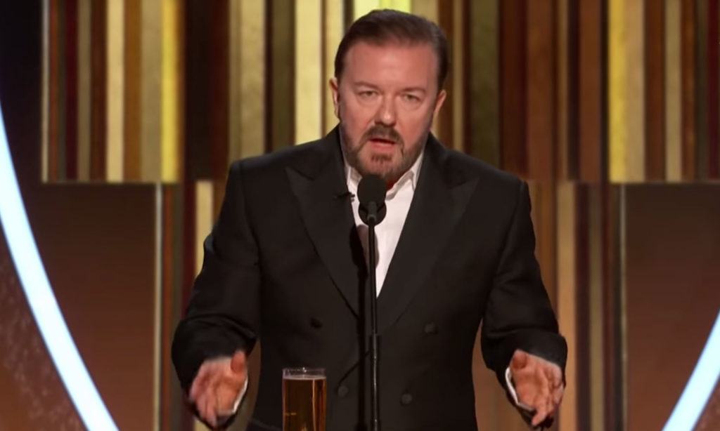 Ricky Gervais hosting the Golden Globes 2020