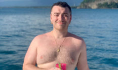 Sam Smith topless on a boat
