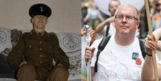 Trevor Skingle after joining the Army in 1974 - and marching at Pride in London in 2019