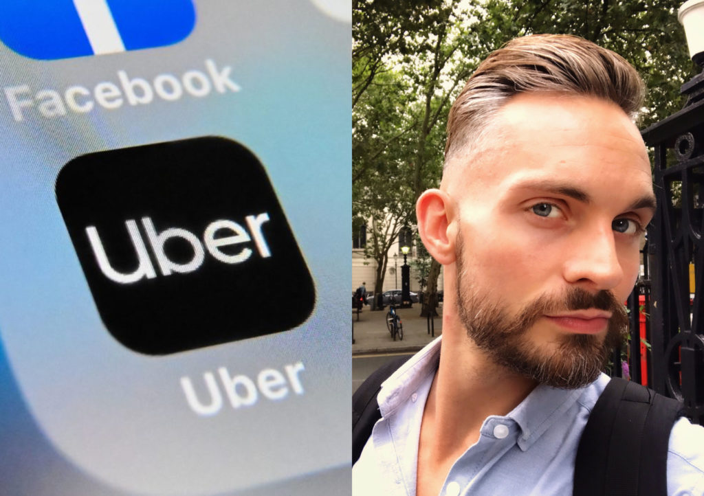 """Finn Davies (R) claimed his Uber cab driver told he and his date to """"stop kissing"""" because """"she is a Christian"""". (Denis Charlet/AFP/Getty/Finn Davies)"""