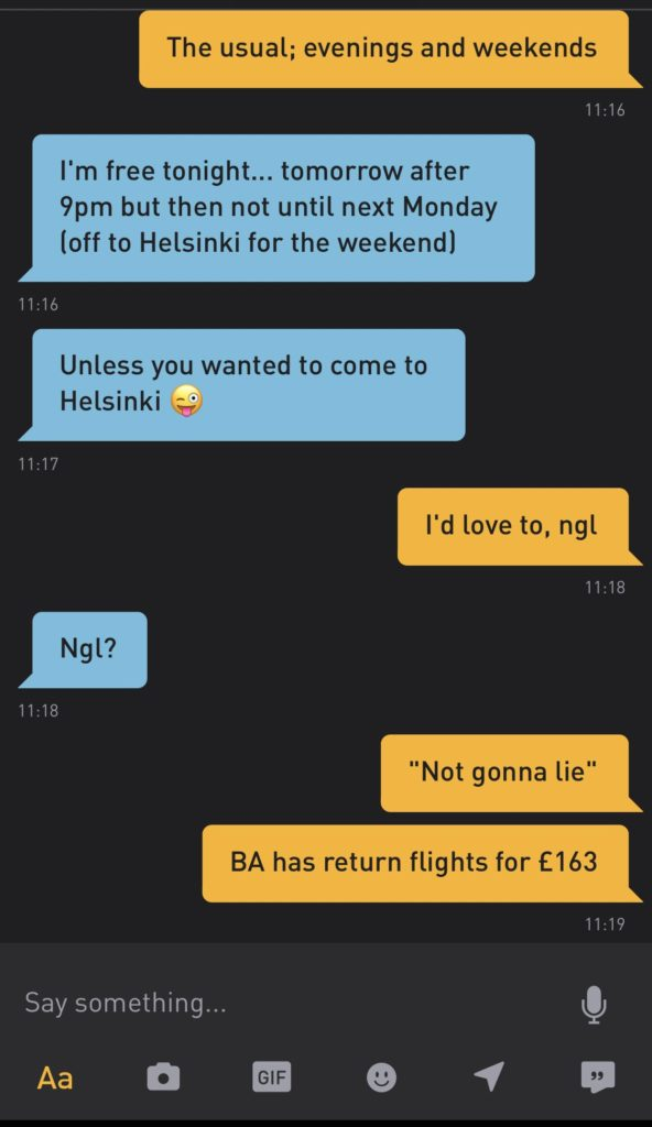 Screenshot of the converstion between Tim and the Grindr user/Tim Wright