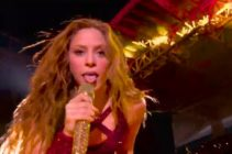 Shakira celebrated her 43rd birthday and her Latinx and Arabian roots during her 2020 Super Bowl halftime show performance. (Screen capture via Twitter)