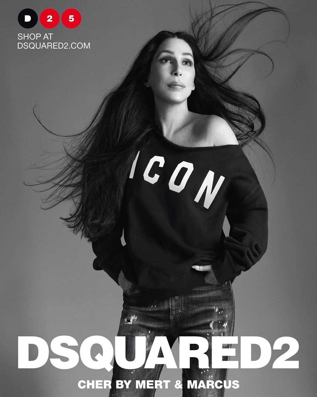 Cher has retweeted fans excited to spot the campaign's first billboards in New York City - teasing an ad for the DSquared2 campaign in Times Square