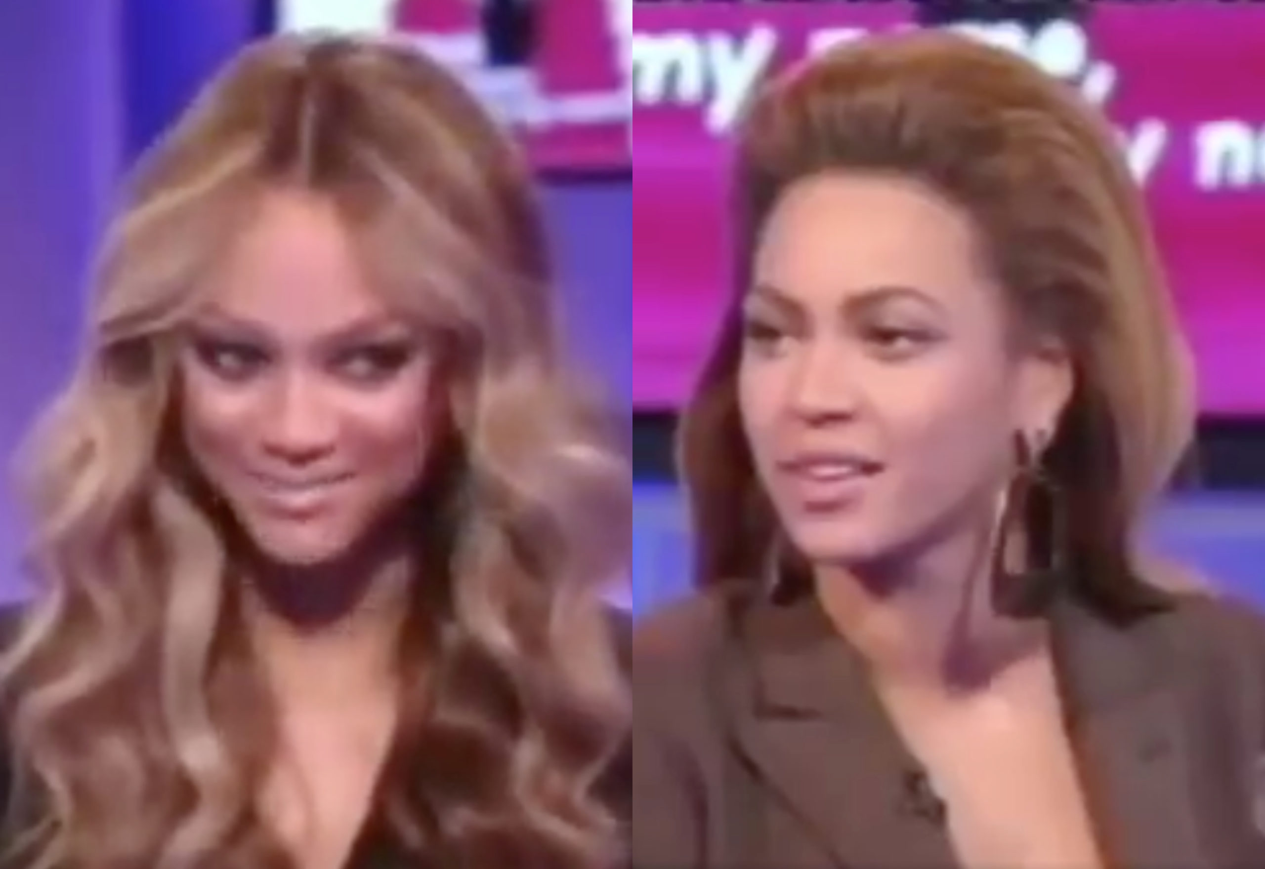 """Tyra Banks is """"sorry, not sorry"""" after her 2008 interview with Beyoncé went viral in 2020. (Screen captures via Twitter)"""