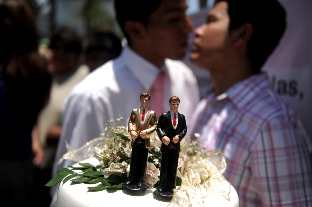 Queer couples in Peru tie the knot in symbolic Valentine's Day ceremony to protest ban on equal marriage