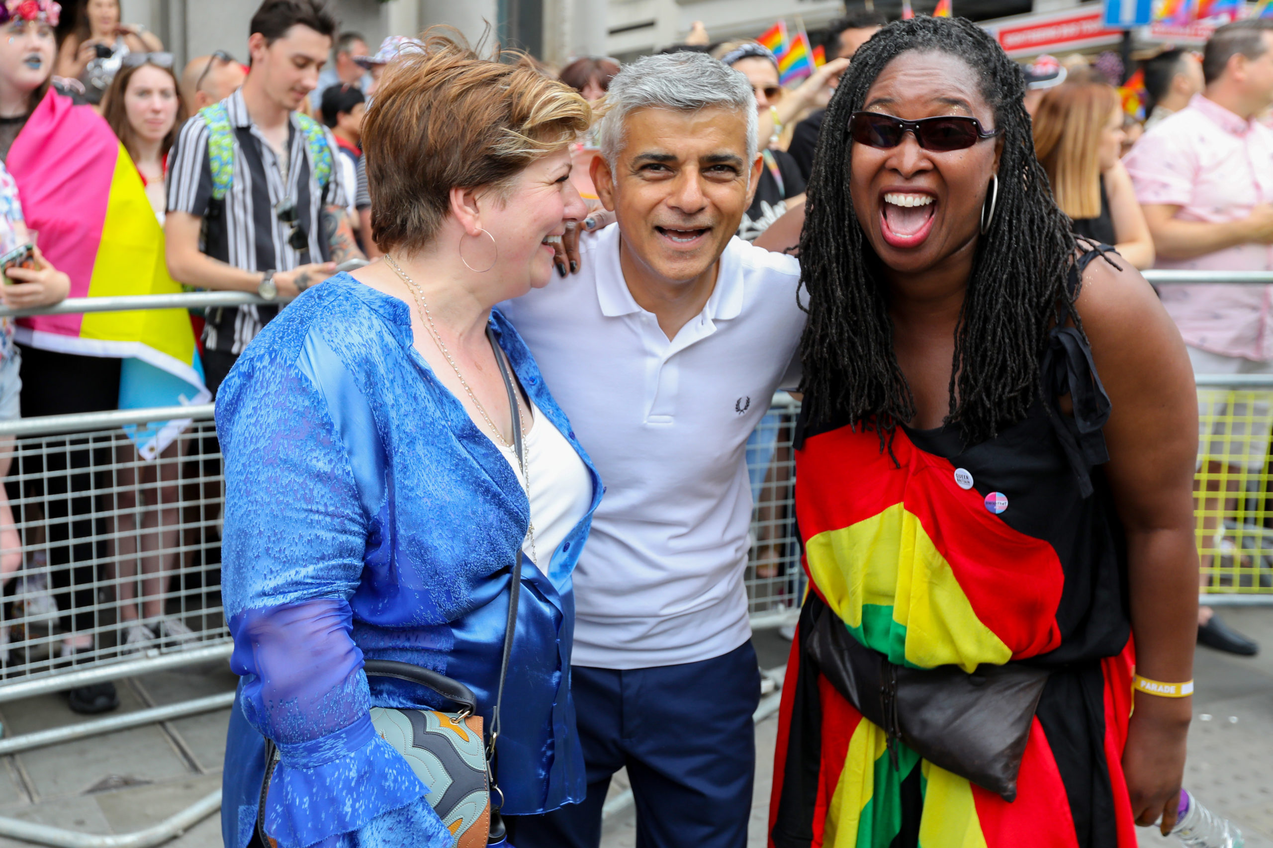 Emily Thornberry (L) and London Mayor Sadiq Khan (C) and Dawn Butler during Pride in London 2019. (Tristan Fewings/Getty Images for Pride in London)