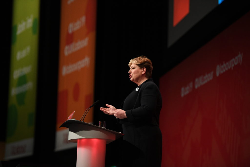 Emily Thornberry addresses delegates on the third day of the Labour Party conference on September 23, 2019 in Brighton, England. (Leon Neal/Getty Images)
