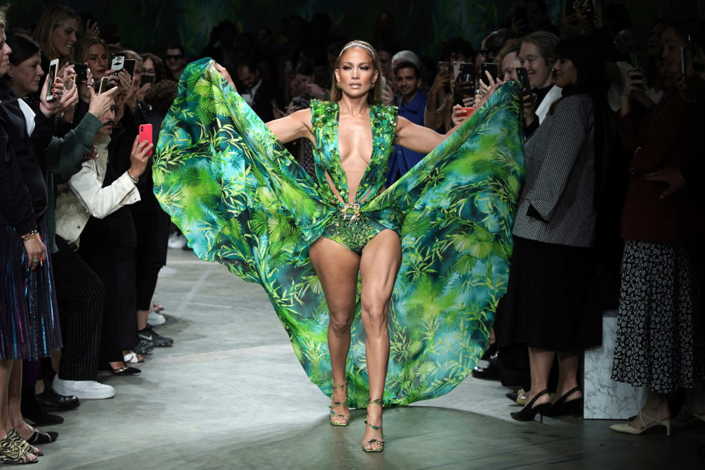 Jennifer Lopez walks the runway at the Versace show during the Milan Fashion Week Spring/Summer 2020. (Vittorio Zunino Celotto/Getty Images)