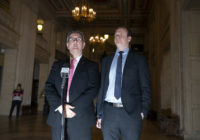 DUP Westminster leader Jeffrey Donaldson (L) alongside DUP MLA Gordon Lyons (R). (Charles McQuillan/Getty Images)