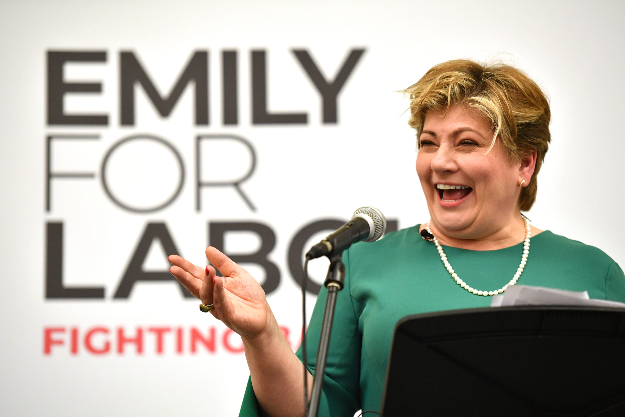 Labour Leadership Contender Emily Thornberry gestures as she speaks on stage during her Leadership Campaign Launch at Guildford Waterside Centre on January 17, 2020. (Leon Neal/Getty Images)