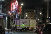A Royal Engineer Bomb Disposal van arrives outside the Soho Theatre on Dean Street in the Soho area of central London on February 3, 2020. (ISABEL INFANTES/AFP via Getty Images)