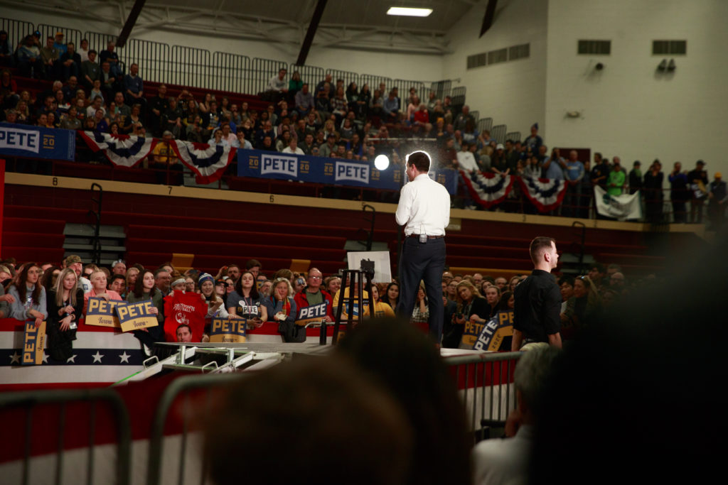 Pete Buttigieg campaigns before the Iowa Caucuses. (Jeremy Hogan / Echoes Wire/Barcroft Media via Getty Images)