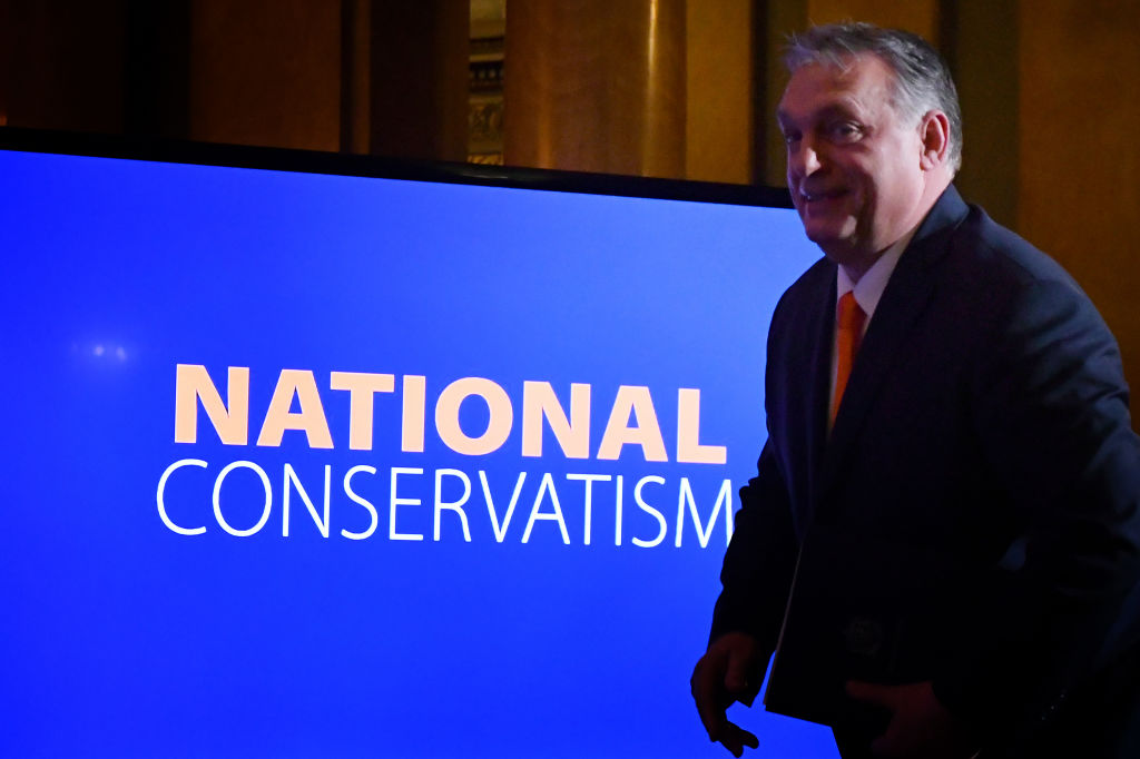 Tory MP condemned: Hungary prime Minister Viktor Orban addresses the National Conservatism conference gathering alongside other European far-right leaders on February 4, 2020, in Rome.