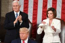Speaker of the US House of Representatives Nancy Pelosi rips a copy of US President Donald Trumps speech after he delivered the State of the Union address at the US Capitol in Washington, DC. (MANDEL NGAN/AFP via Getty Images)