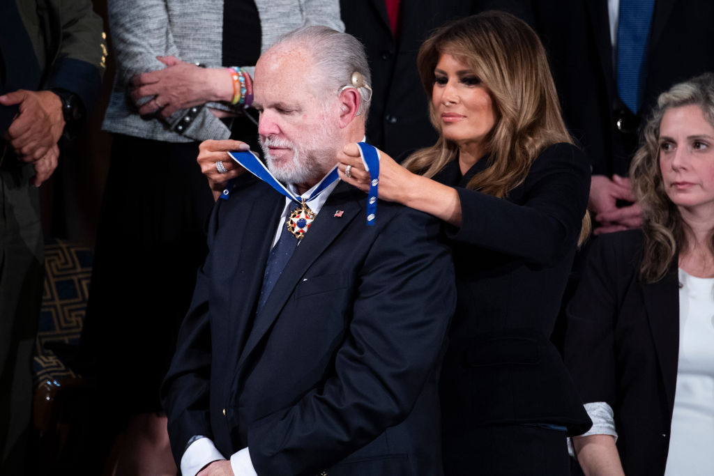 First Lady Melania Trump awards Rush Limbaugh the Presidential Medal of Freedom